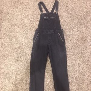 Free People Black Boyfriend Overalls